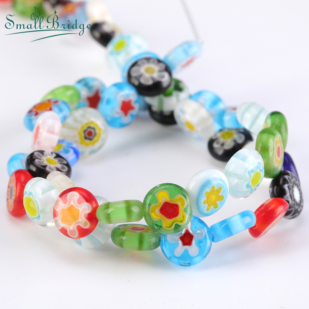 8 10mm Mix Color Flat Round Glass Flower Bead for Jewelry Making DIY Accessories Bead of Millefiori Lampwork Beads Wholesale Q6(China)