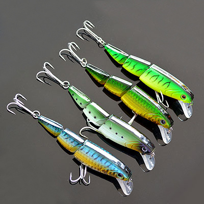 Gratis frakt 3-Seksjoner Minnow 1pcs Fishing Lure 4 Mix Farge 10cm / 18g / Floating Lures Hard Beit lysende agn