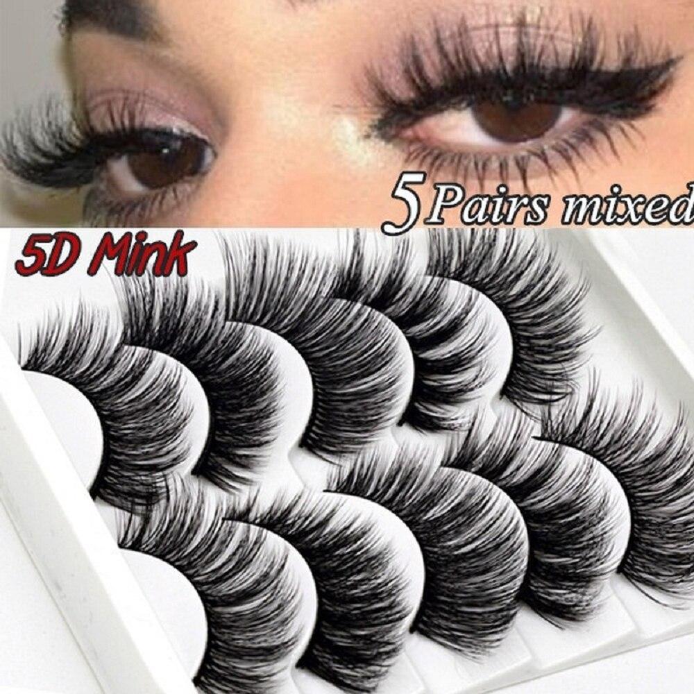 5 pairs 5D Mink Eyelashes Natural False Eyelashes Lashes Soft Fake Eyelashes Extension Makeup Wholesale