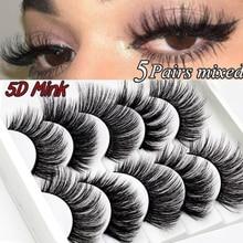 5 pairs 5D Mink Eyelashes Natural False Eyelashes Lashes Soft Fake Eyelashes Extension Make