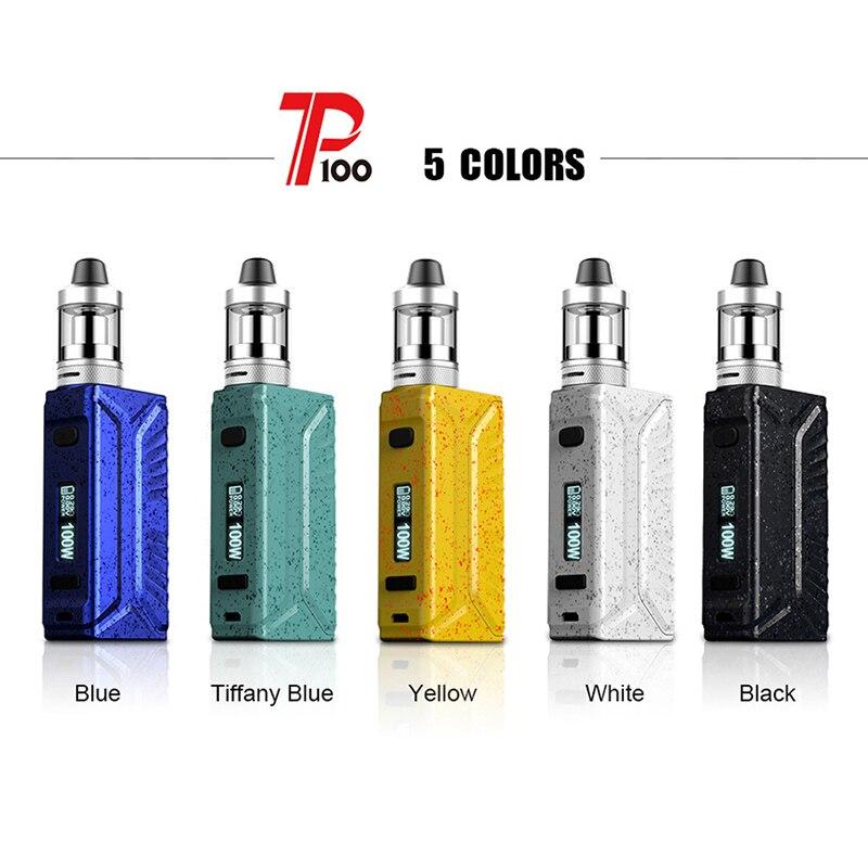 D'origine RTM P100 Starter Kit 5 couleurs ecigarette avec 100 W Boîte Mod 2.5 ML Réservoir Atomiseur puissance par 1 Pc 18650 batterie