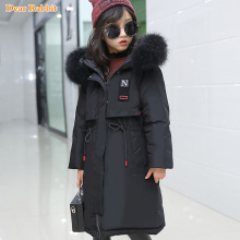 Clothing Outwear Parka Down-Jacket Long-Coat Girl Real-Fur Children Hooded Teen Warm