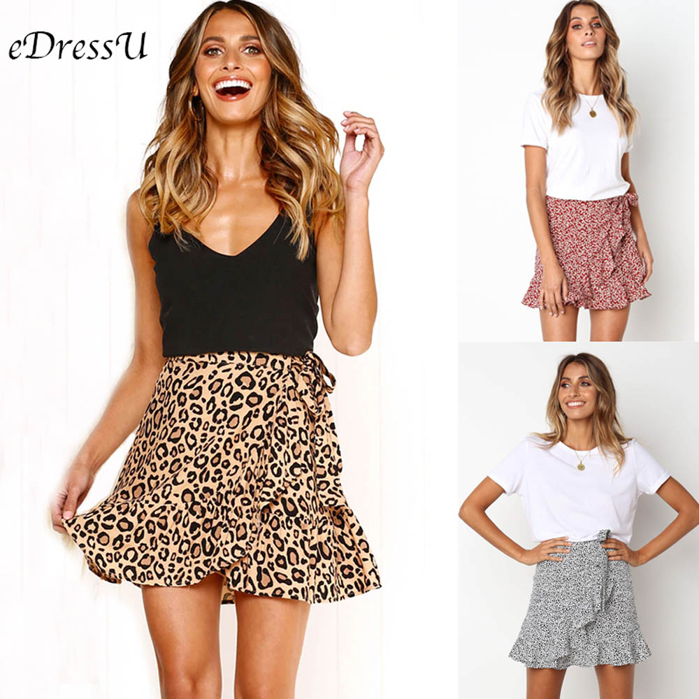 Sexy Short Skirt Women Leopard Mini Skirt Ruffles Elastic High Waist Chic Cute Daily Summer Skirt Print Casual Wear CLX-101083