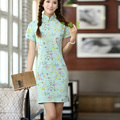 Shanghai Story Top Quality Cotton Linen blue cheongsam dress Chinese Women's Cheong-sam Floral print Chinese Qipao dress KJ434