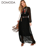 DOMODA Solid Color Women Dresses Long Sleeves Floral Embroidery Women Dress Casual Elegant Dress Vestidos