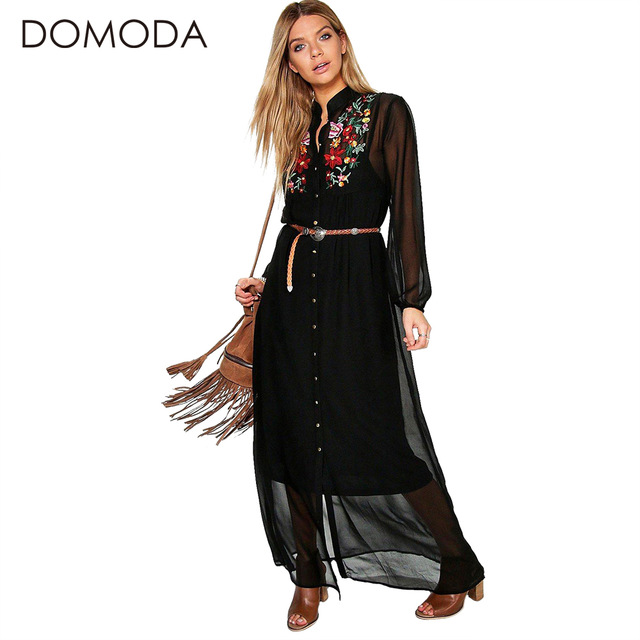 DOMODA Чешские Dress Женская Одежда Цветочный Принт Вышивка Boho Платья Свободно Случайные Элегантный Maxi Dress Vestidos Женский