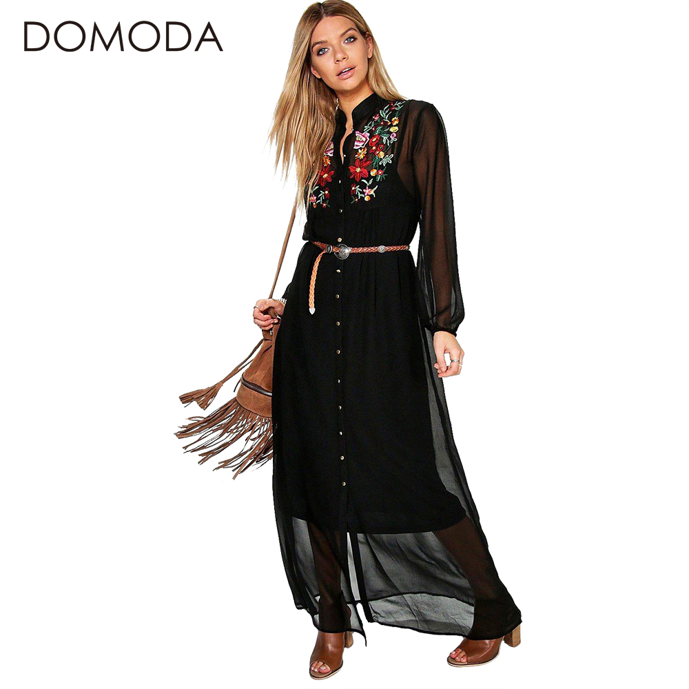 Buy Cheap DOMODA Bohemian Dress Women Clothing Floral Print Embroidery Boho Dresses Loose Casual Elegant Maxi Dress Vestidos Female