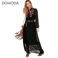 DOMODA Solid Color Women Dresses Long Sleeves Floral Embroidery Women Dress Casual Elegant Dress Vestidos