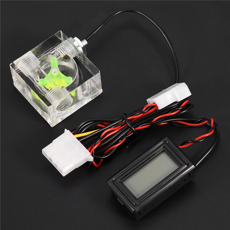 PC Water Cooling Cooler 3 Way Flow Meter w// Digital Thermometer G1//4 Fitting BT