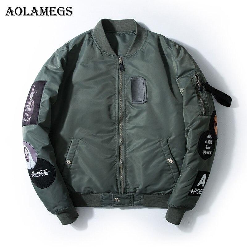 Aolamegs Bomber Veste Badge Logo Nombre Hommes Veste Col montant de Hip Hop De Mode Outwear Automne Hommes Manteau de Baseball Bombe vestes