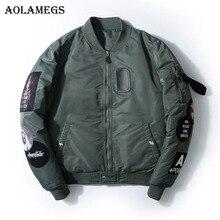 Aolamegs Bomber Jacket Badge Logo Number Men's Jacket Stand Collar Hip Hop Fashion Outwear Autumn Men Coat Bomb Baseball Jackets
