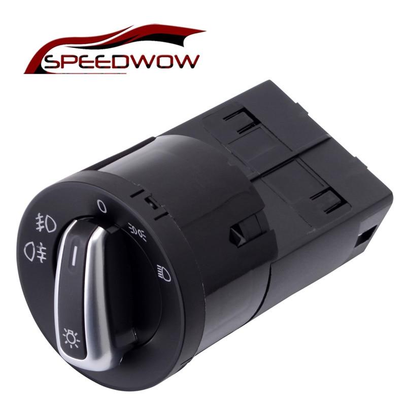 SPEEDWOW Chrome Headlight Control Switch Fog Lamp Control Switch For VW Golf MK4 Jetta 4 Bora Passat B5 3BD941531/3BD 941 531