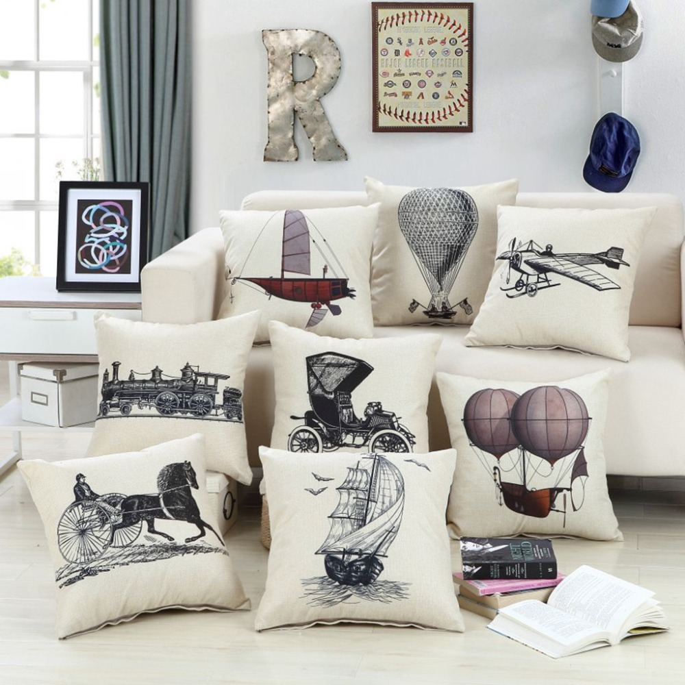 Industrial Revolution Decorative Pillows Traffic Tools Pattern European  Vintage Cushion Covers Cotton Linen Sofa Throw Pillows