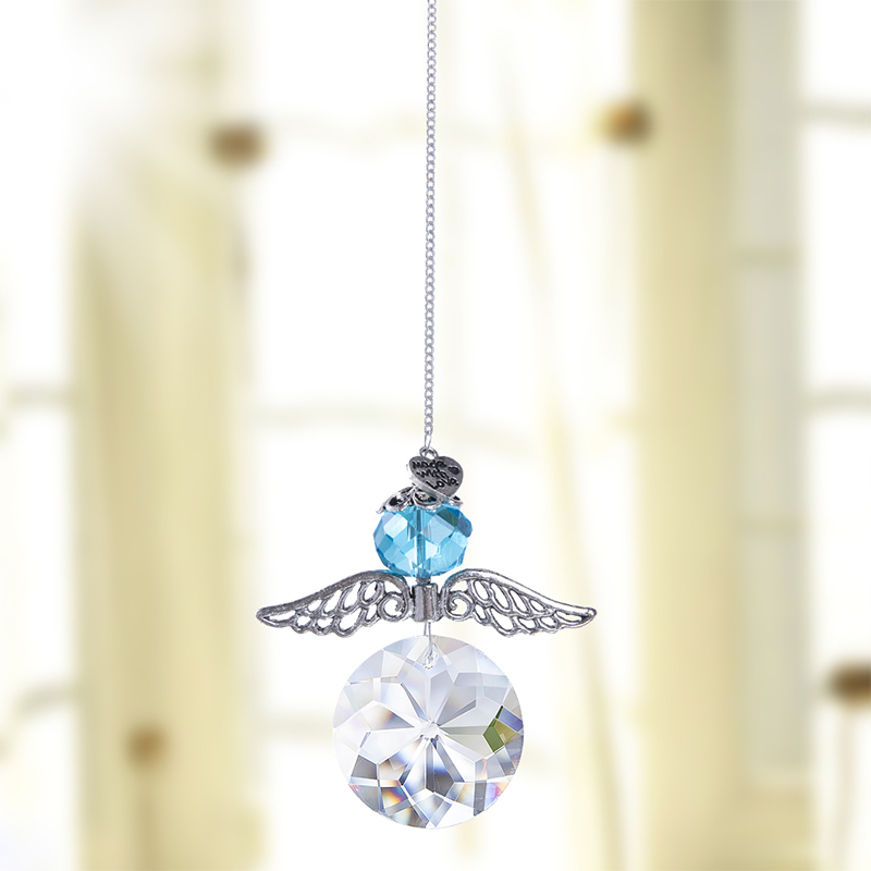 H&D Rainbow Guardian Angel Crystal Suncatcher For Home/Car Decoration & Porch Decor & Hangings Crystal Glass Fengshui Ornament