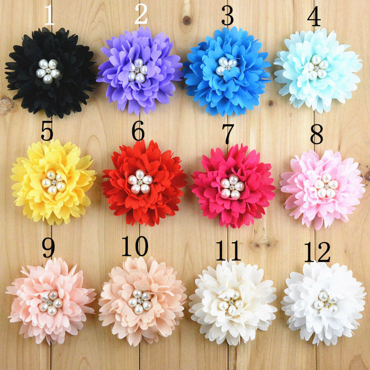 Free Shipping 50pcs lot High Quality 3 15 Chiffon Fabric flowers For Girls Boutique Hair Accessories