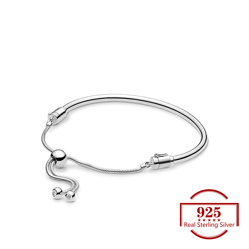 925 Sterling Silver Sliding Smooth Adjustable Bracelet Trendy Jewelry Fits  Charm Bracelet DIY for Women Diy Party Gift925 Sterling Silver Sliding Smooth Adjustable Bracelet Trendy Jewelry Fits  Charm Bracelet DIY for Women Diy Party Gift