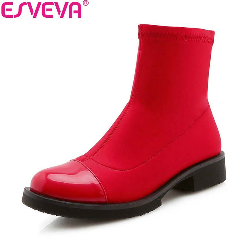 ESVEVA 2019 Woman Boots Patchwork Low Heels Ankle Boots Slip on Shoes Square Heels Autumn Ladies Shoes Round Toe Size 34-43 esveva 2019 ankle boots for women shoes round toe square high heels synthetic woman boots shoes autumn ladies boots size 34 39