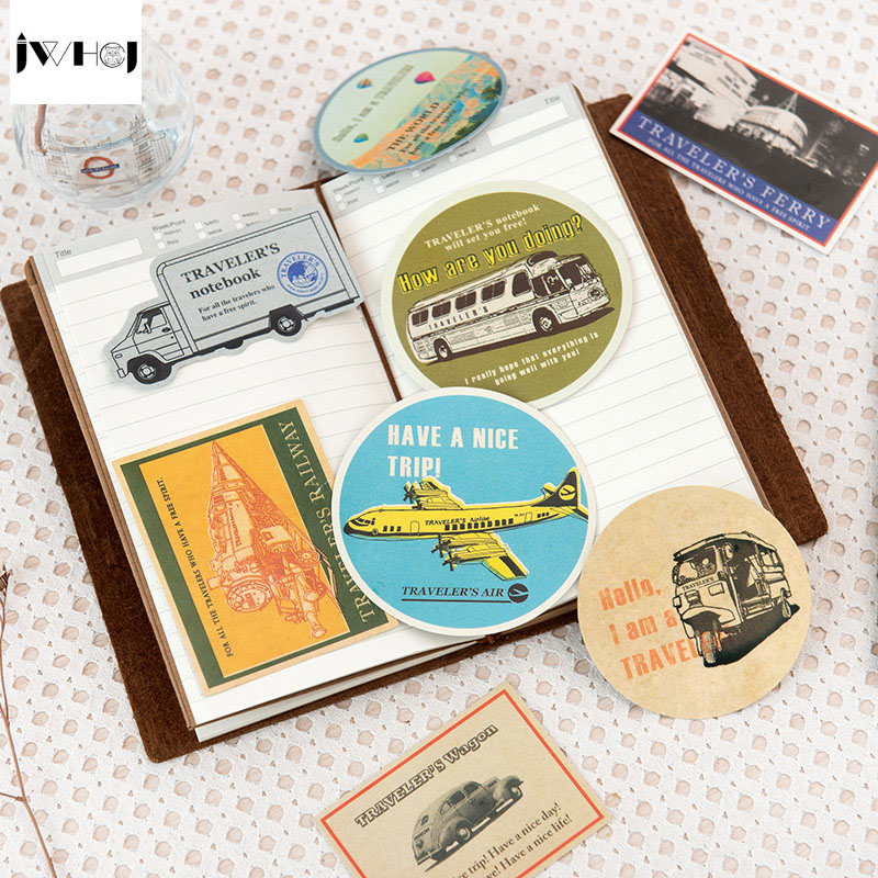 JWHCJ (4 page=16 pcs) vintage traffic tools stamp stickers ...