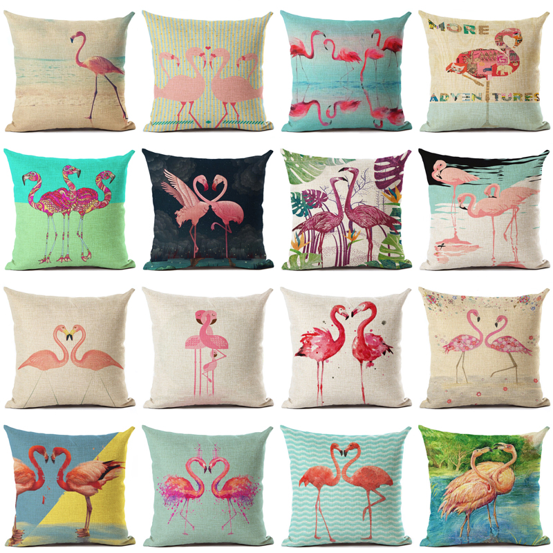 Flamingo Pattern Cushion Cotton Linen Square Pillowcase Decorative Pillows Use For Home Sofa Car Office Bed Almofadas Cojines