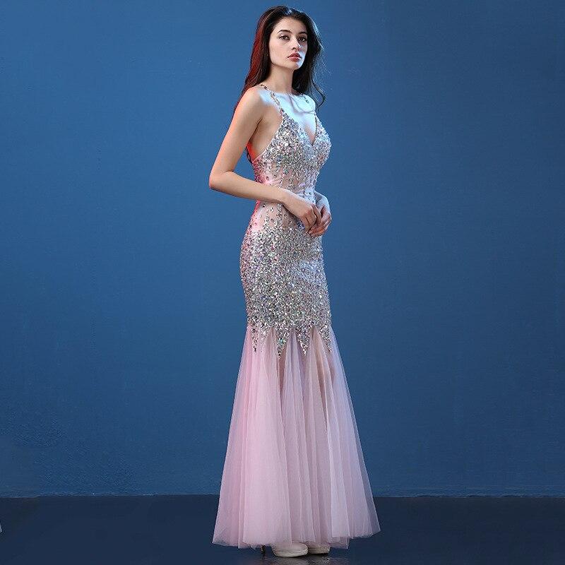 9c117f96320e2 Sexy Col V profond dentelle rose sirène strass robes de cocktail fille plus  la taille coctail robe longue partie robe JWJ40013 dans Robes De Cocktail  de ...