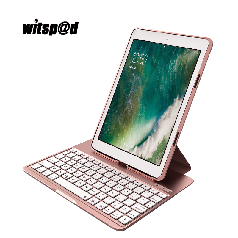 Witsp@d Portable Bluetooth Keyboard 3.0 for iPad Pro 9.7 Tablet Case Cover with Standby 60 days Backligh Keyboard for iPad Air 2