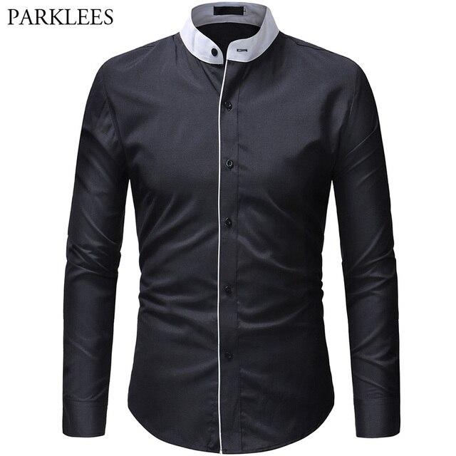 e8027961 € 11.94 49% de DESCUENTO Aliexpress.com: Comprar Camisa de cuello alto  mandarín para hombre 2019 nuevo vestido de esmoquin de primavera para  hombre ...