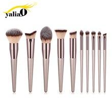 YALIAO 2019 Champagne Gold brocha de maquillaje, para base de maquillaje Facial, alta calidad, brocha de maquillaje para cejas, cara, mejillas, ojosrizador de pestañas