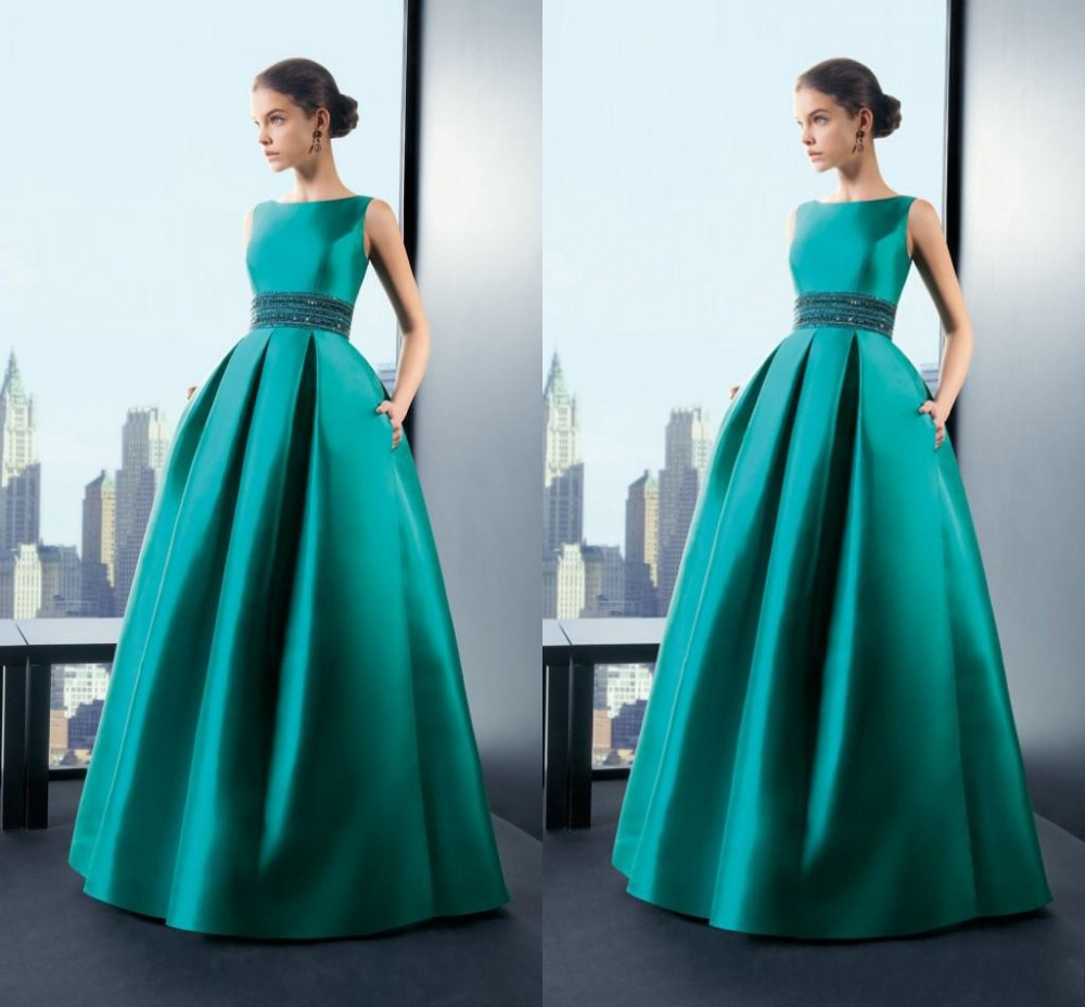 gorgeous emerald green abendkleider festliche kleider a-line high neck  sleeveless taschen prom kleider lang promi-kleider