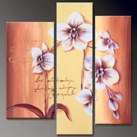 3pcs Hand Painted Canvas Painting Lyrical Orchids Modern Canvas Art Wall Decor Floral Oil Painting Wall