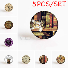 5PCS/SET Vintage Book Round Dome Photo Glass Cabochon Jewelry Making Handmade Pendant Findings & Components