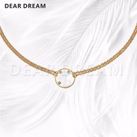 Low key Luxury Fashion Letters Circle Pendant Necklace 2019 New Arrivals Hot Fashion Gold Necklace For Gift