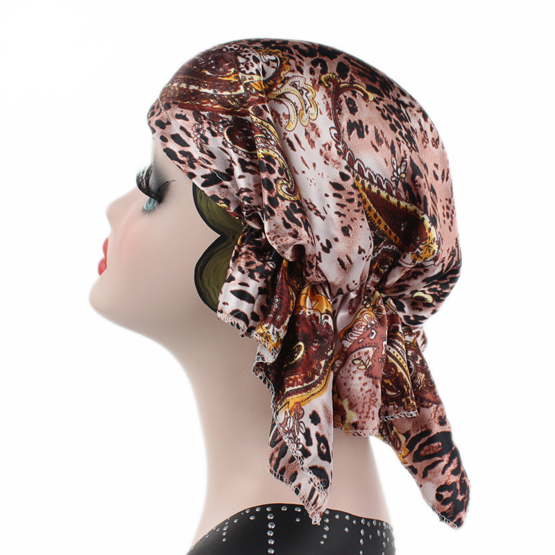New Women Lady Exotic Elegant Classic Retro Bouffant Casual Satin Leopard Printed   Skullies   &   Beanies   Hat Sleep Caps Turban Chemo