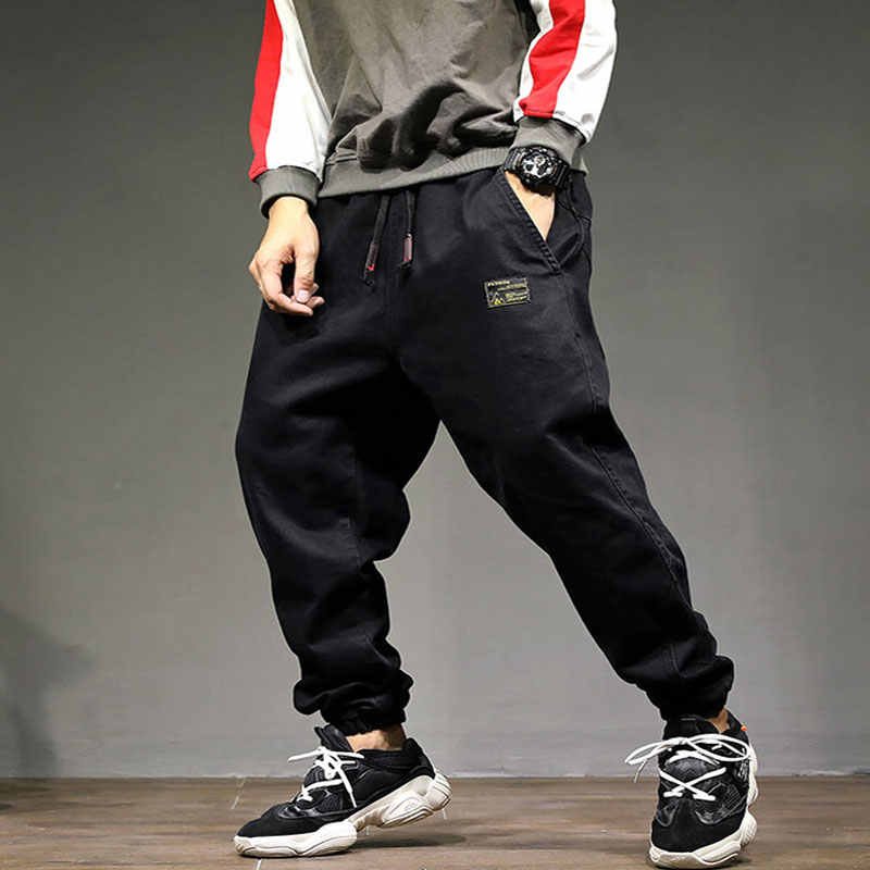 2019 High Street Fashion Men Jeans Loose Fit Harem Pants Black Color Punk Style Hip Hop Jogger Jeans For Men Cargo Pants!1896