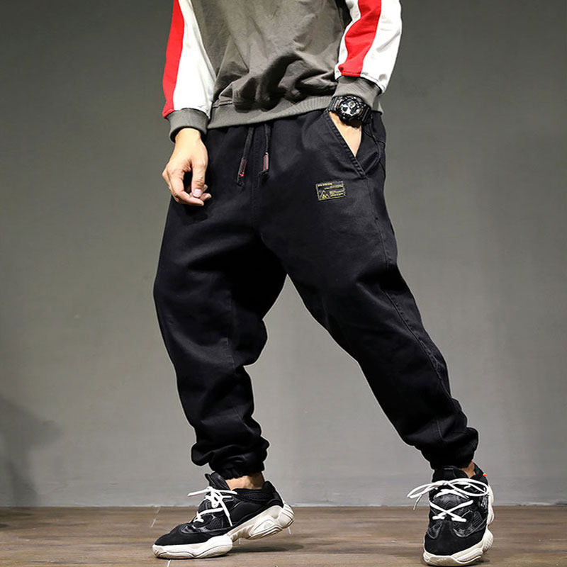 2019 High Street Fashion Men Jeans Loose Fit Harem Pants Black Color Punk Style Hip Hop Jogger Jeans For Men Cargo Pants!1896
