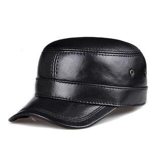 Image 2 - RY0108 gorras de béisbol planas de piel auténtica para hombre, gorras de béisbol planas en color negro/marrón, de 54 62 cm, tamaño personalizado, para exteriores, Snapback, sombrero de Golf