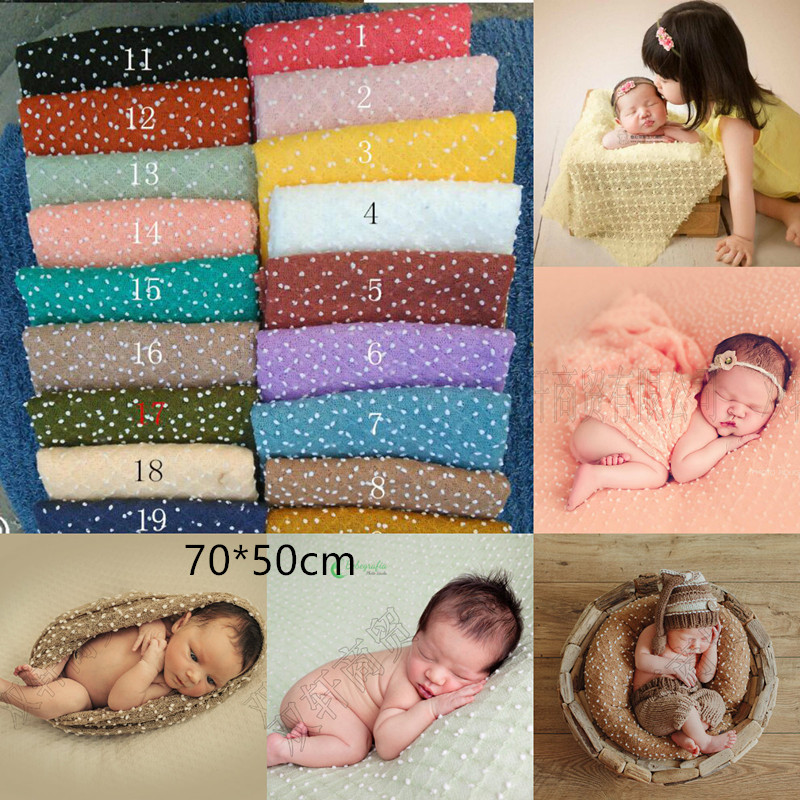 70 * 50cm Knitting Ball Fabric Pea Fabric Newborn Baby Photography Background Newborn Wrap Scarf Photography Fabric