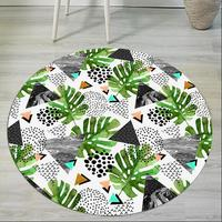 Doormat Palm Leaf Printed Flannel 3D Round Area Rug Anti Slip Rugs Home Entrance Floor Carpet