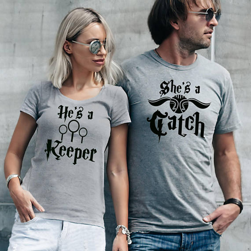 EnjoytheSpirit She Is A Catch He Is A Keeper His and Her Grey T-shirts Set Couple Tshirt Fashion Couple Matching Top Tee