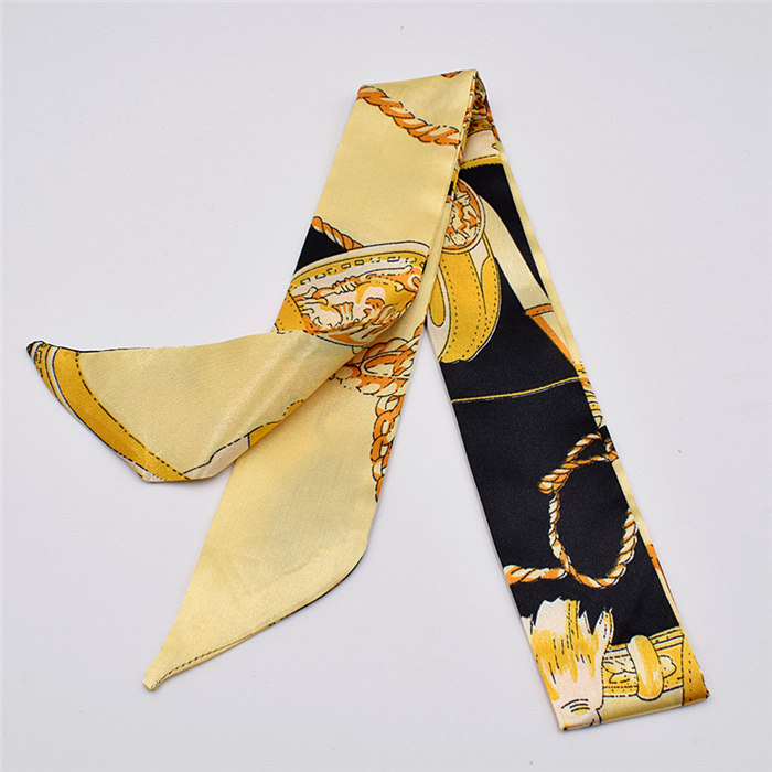 HTB1RjgUdlGw3KVjSZFwq6zQ2FXao - Small Silk Scarf For Women New Print Handle Bag Ribbons Brand Fashion Head Scarf Small Long Skinny Scarves Wholesale