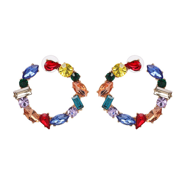 New Fashion Charm Full Crystal Circle Hoop Earrings for Women Geometric Round Shiny Rhinestone Earring Party Jewelry Accessories