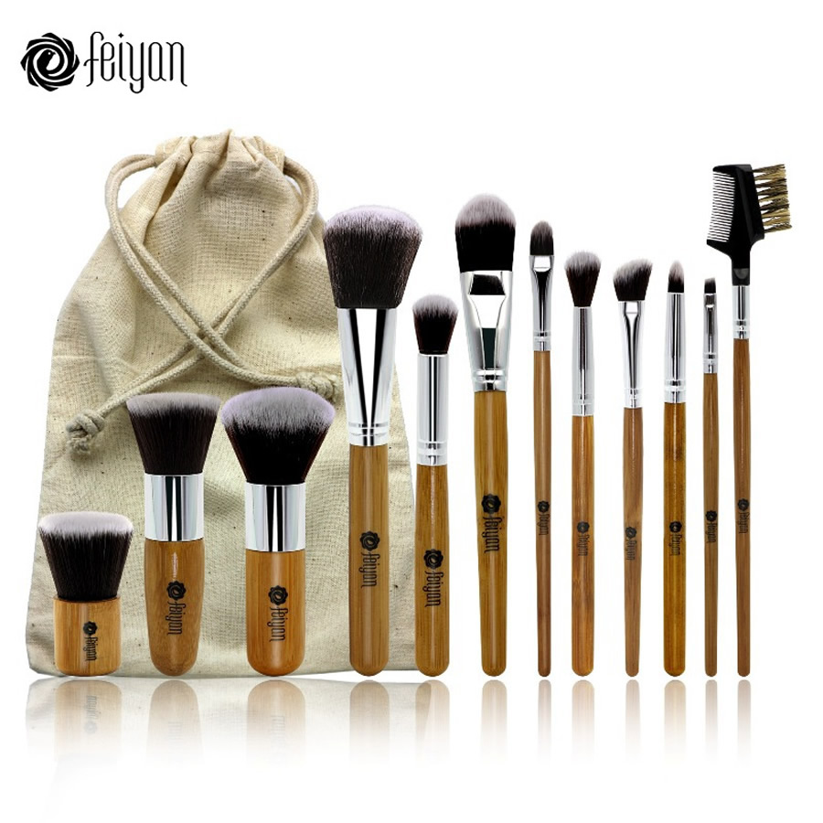 12 PCS Natural Bamboo Makeup Brushes Set Professional with Bag Face Powder Blush Foundation Eyeshadow Make Up Cosmetic Brush Kit все цены