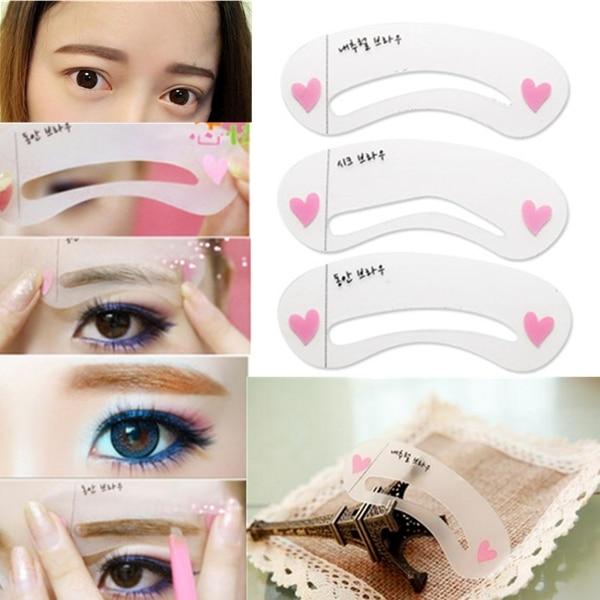 3 Pcs Women Magic Eye Brow Class Drawing Guide Eyebrow Stencil Card