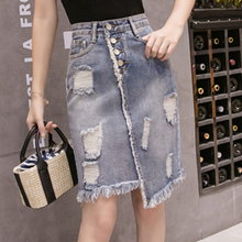 JULY Summer skirt Women Fashion Hole Denim Skirt  Plus Size Solid Hollow Out Skirt Pocket  Button  Skirts Leisure Korean version trendy round neck hollow out t shirt button down pocket denim skirt women s twinset page 7