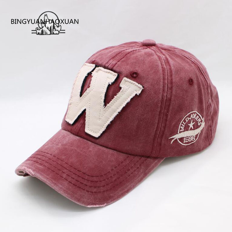 BINGYUANHAOXUAN 6 Color Washed Denim Snapback Caps Autumn Cotton Letter W New Men Women Baseball Cap Sunblock Beisbol Casquette