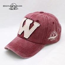 c548c2e641f BINGYUANHAOXUAN 6 Color Washed Denim Snapback Caps Autumn Cotton Letter W  New Men Women Baseball Cap