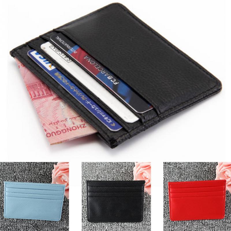 Durable Unisex Slim Card Holder Mini Wallet ID Case PU Leather Women Men Mini Money Card Clip Case