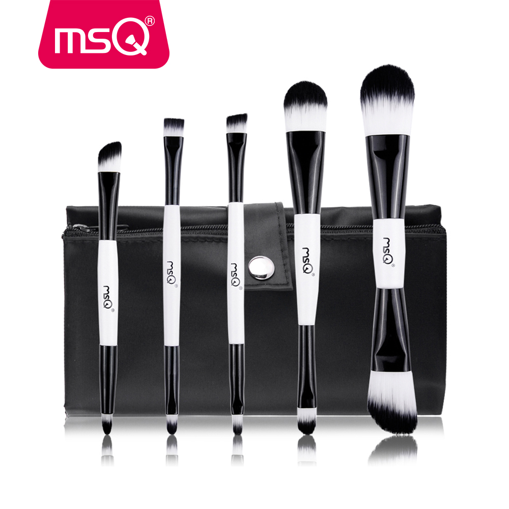 MSQ 5pcs Makeup Brushes Set Foundation Blusher Eyeshadow Cosmetic Make Up Brush kit Double End Synthetic Hair Canvas Case msq 15pcs professional makeup brushes set foundation fiber goat hair make up brush kit with pu leather case makeup beauty tool