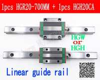 New linear guide rail HGR20 700mm long with 1pc linear block carriage HGH20CA HGH20 HGW20CC CNC parts