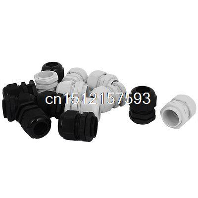 14Pcs 3/4 NPT Compression Waterproof Stuffing 16-21mm Cable Glands Black White цена и фото