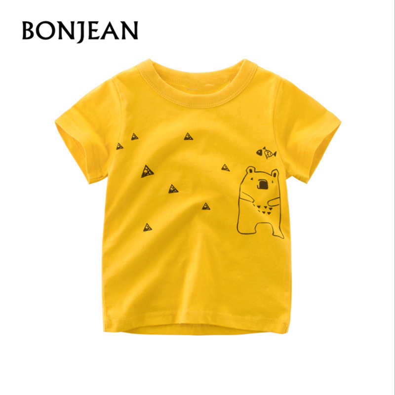 Boys T-shirt Tops Summer 2018 Fashion Children Short Sleeve T-shirt Bear Pattern Kids Clothing tshirt Girl Spring Baby Clot